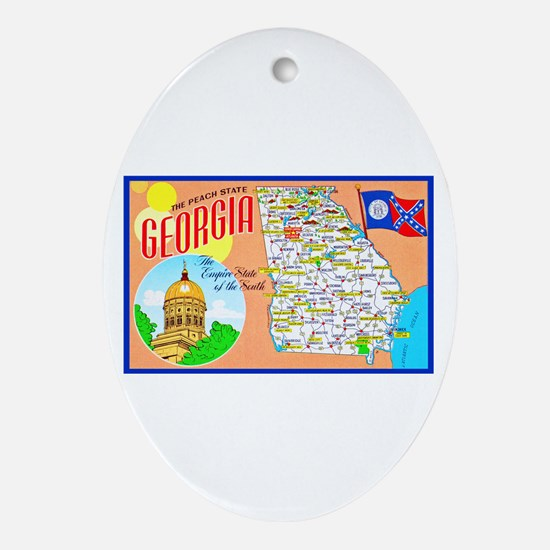 Georgia Map Greetings Ornament (Oval)
