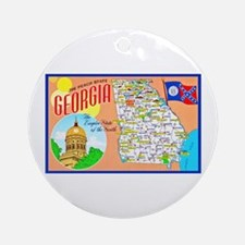 Georgia Map Greetings Ornament (Round)