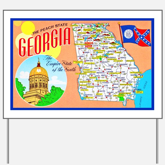 Georgia Map Greetings Yard Sign