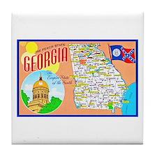 Georgia Map Greetings Tile Coaster