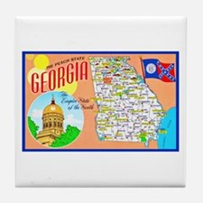 Georgia Map Greetings Tile Coaster