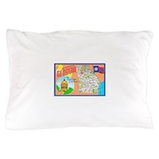 Georgia Map Greetings Pillow Case