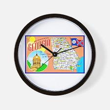Georgia Map Greetings Wall Clock