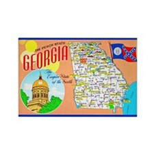 Georgia Map Greetings Rectangle Magnet