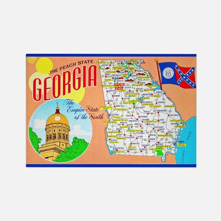 Georgia Map Greetings Rectangle Magnet