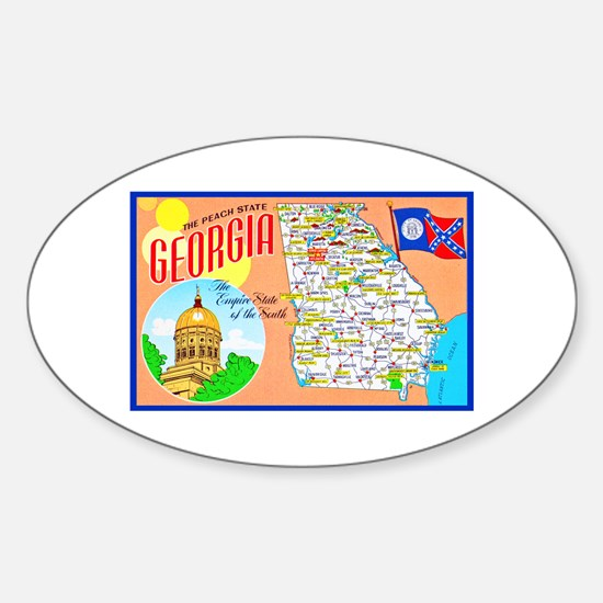 Georgia Map Greetings Sticker (Oval)