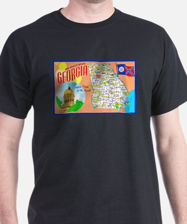 Georgia Map Greetings T-Shirt