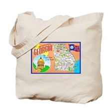 Georgia Map Greetings Tote Bag