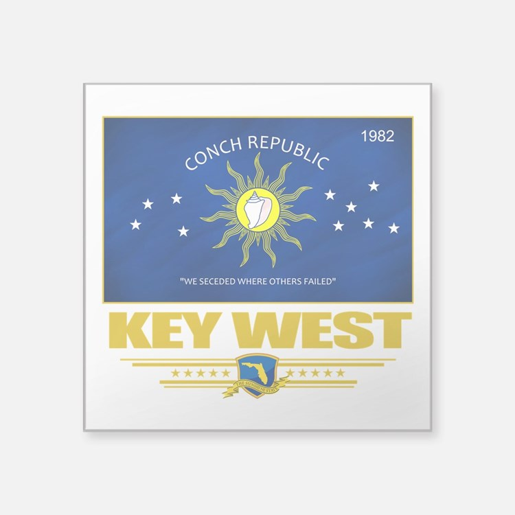 """Key West (Flag 10).png Square Sticker 3"""" x 3"""""""