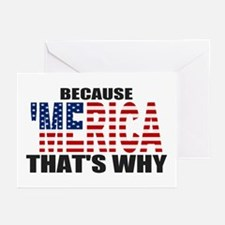 US Flag Because MERICA Thats Why Greeting Cards (P