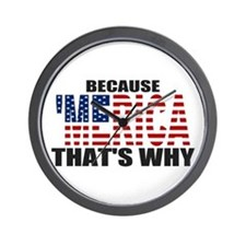 US Flag Because MERICA Thats Why Wall Clock