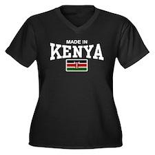 Made In Kenya Women's Plus Size V-Neck Dark T-Shir