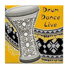 Drum Dance Live Yellow Tile Coaster