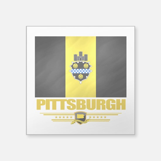 "Pittsurgh (Flag 10).png Square Sticker 3"" x 3"""