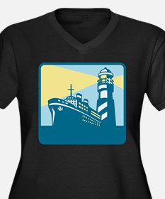 Passenger Ship Cargo Boat Lighthouse Retro Women's