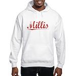 Millis, Vintage Red Hooded Sweatshirt