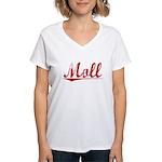 Moll, Vintage Red Women's V-Neck T-Shirt