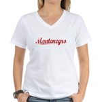 Montenegro, Vintage Red Women's V-Neck T-Shirt