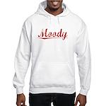 Moody, Vintage Red Hooded Sweatshirt