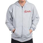 Moretz, Vintage Red Zip Hoodie