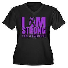 I am Strong Pancreatitis Women's Plus Size V-Neck