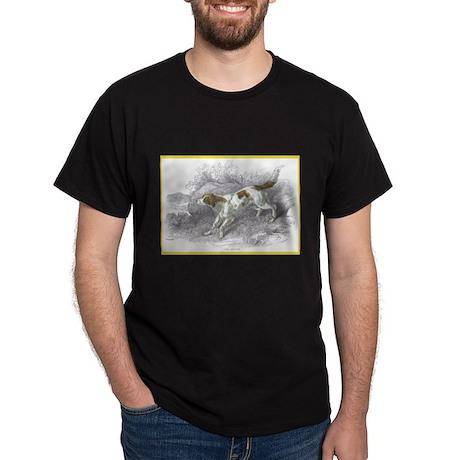 Setter Dog (Front) Black T-Shirt