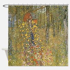 Garden with Crucifix by Klimt Shower Curtain