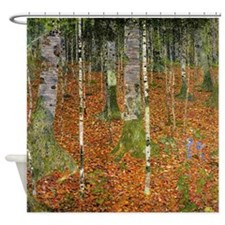 Silver Birches by Klimt Shower Curtain