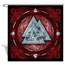 Norse Valknut Tapestry - Red Shower Curtain
