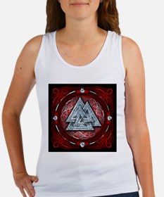 Norse Valknut Tapestry - Red Women's Tank Top