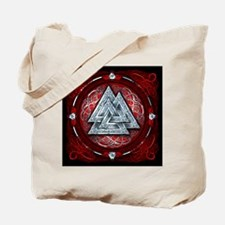 Norse Valknut Tapestry - Red Tote Bag