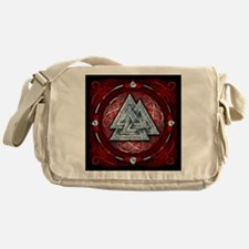 Norse Valknut Tapestry - Red Messenger Bag