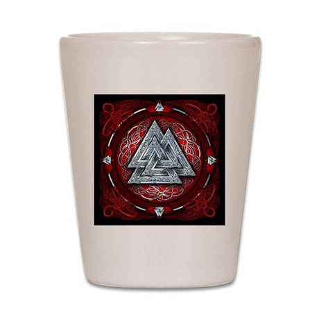 Norse Valknut Tapestry - Red Shot Glass