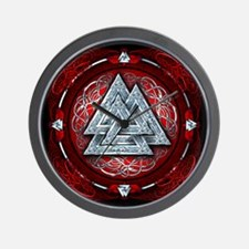Norse Valknut Tapestry - Red Wall Clock