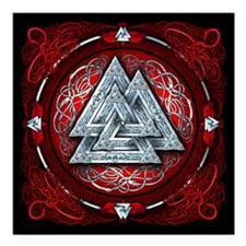 """Norse Valknut Tapestry - Red Square Car Magnet 3"""""""