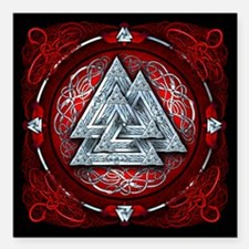Norse Valknut Tapestry - Red Square Car Magnet 3""