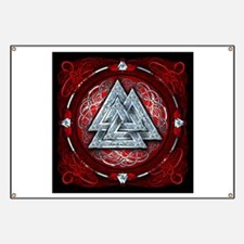 Norse Valknut Tapestry - Red Banner