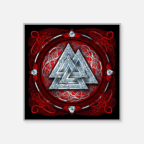 "Norse Valknut Tapestry - Red Square Sticker 3"" x 3"