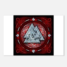 Norse Valknut Tapestry - Red Postcards (Package of