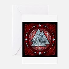 Norse Valknut Tapestry - Red Greeting Cards (Pk of