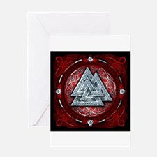 Norse Valknut Tapestry - Red Greeting Card