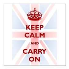 "Keep Calm and Carry On Square Car Magnet 3"" x 3"""