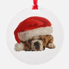 Funny Bulldog Christmas Ornament