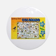 Colorado Map Greetings Ornament (Round)