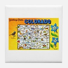 Colorado Map Greetings Tile Coaster