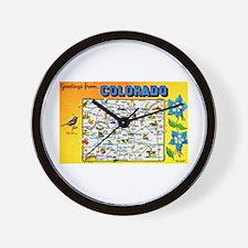 Colorado Map Greetings Wall Clock