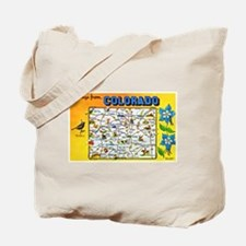 Colorado Map Greetings Tote Bag