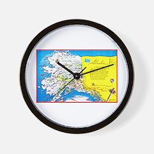 Alaska Map Greetings Wall Clock