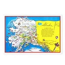 Alaska Map Greetings Postcards (Package of 8)