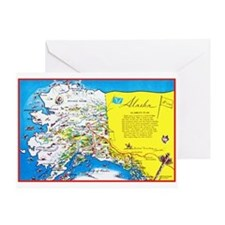 Alaska Map Greetings Greeting Card
